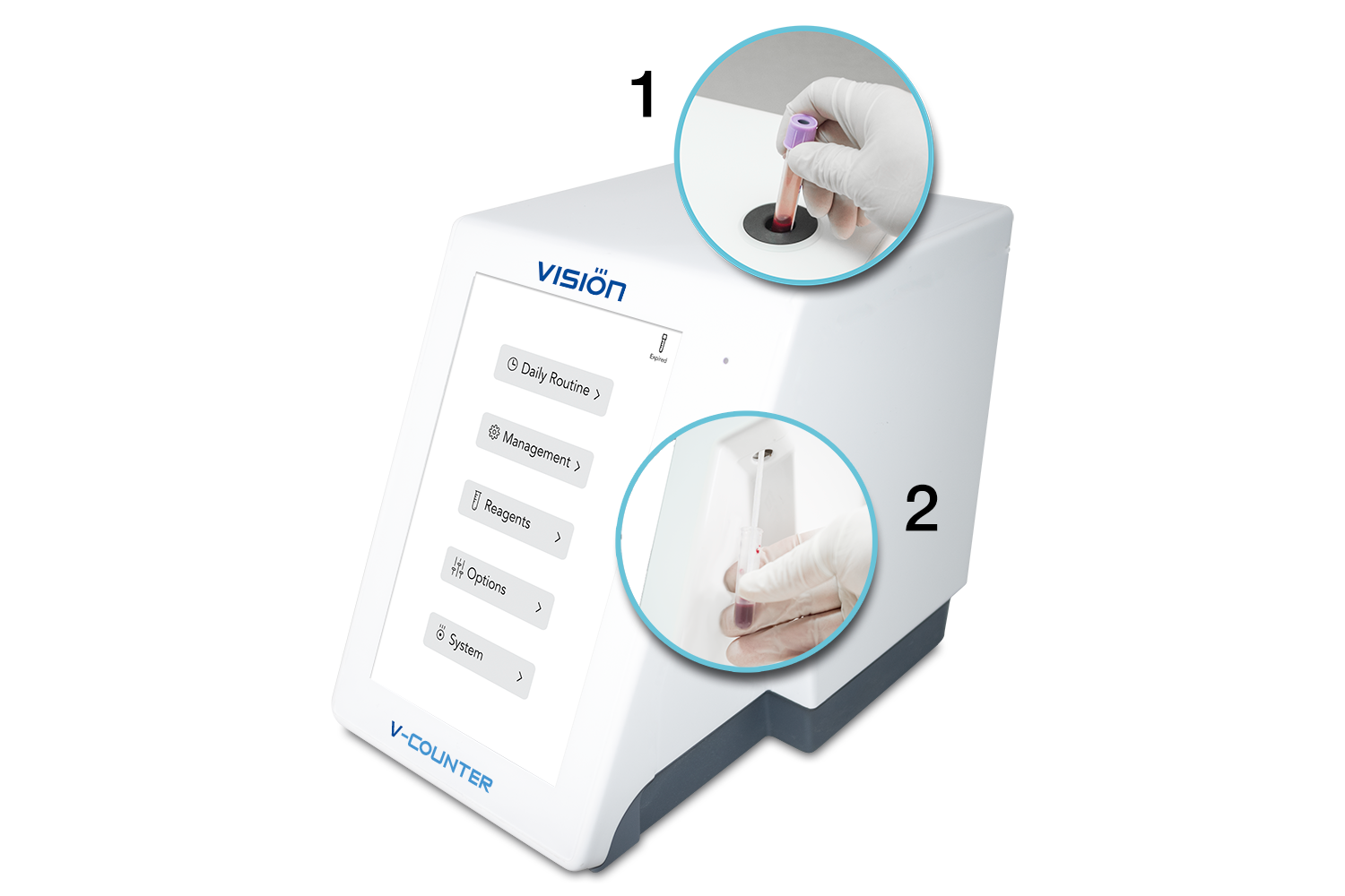 V-Counter operates with any type of closed and open EDTA test-tubes